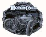 Morgan H.C. Lones' Brooklands Motorcycle Belt Buckle with display stand. Code TD3